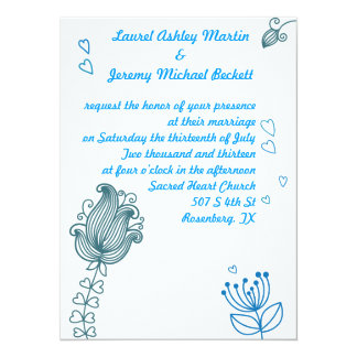 Whimsical Flowers Wedding Invitation - Blue
