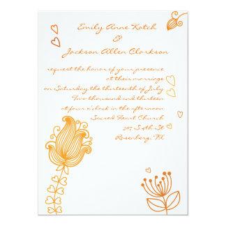 Whimsical Flowers Wedding Invitation - Orange