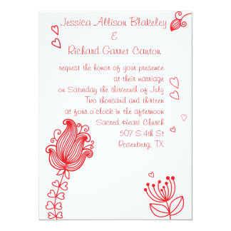 "Whimsical Flowers Wedding Invitation - Red 5.5"" X 7.5"" Invitation Card"