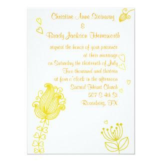 Whimsical Flowers Wedding Invitation - Yellow