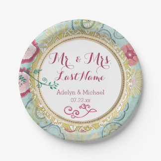 Whimsical Flowers Wedding Paper Plates 7 Inch Paper Plate
