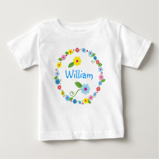 Whimsical Flowers with Baby Name T-shirt