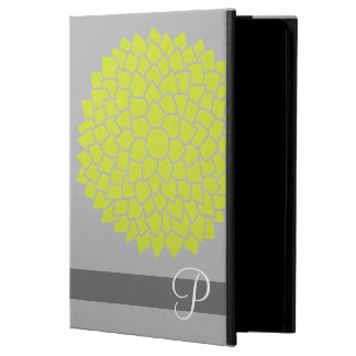 Whimsical Flowers with Lime Green and Monogram iPad Air Cover