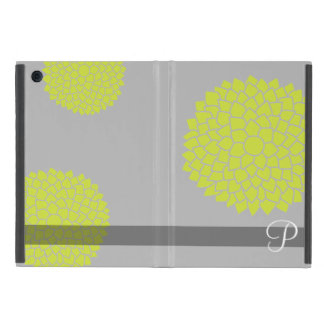 Whimsical Flowers with Lime Green and Monogram iPad Mini Case