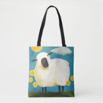 Whimsical Fluffy Sheep and Yellow Flowers Tote Bag