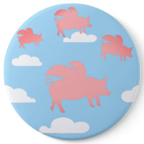 Whimsical Flying Pigs Button