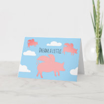 Whimsical Flying Pigs Card