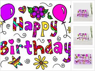 Whimsical Folk Art Happy Birthday