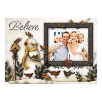 Whimsical Folk Art Snowmen Christmas Photo Card