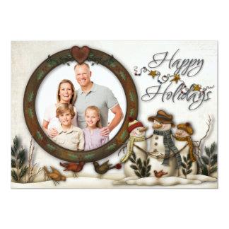 Whimsical Folk Art Snowmen Christmas Photo Card Custom Invitation