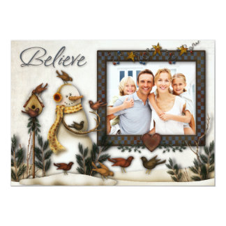 Whimsical Folk Art Snowmen Christmas Photo Card Personalized Announcement