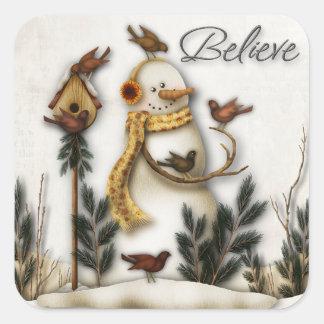 Whimsical Folk Art Snowmen Christmas Sticker