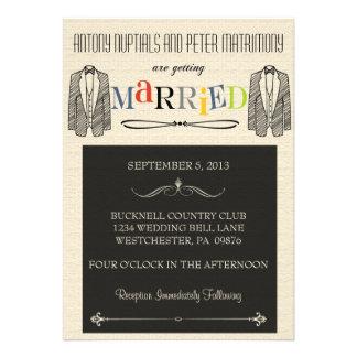 Whimsical Font Gay Wedding Invitations