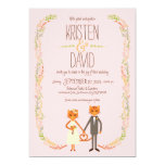 Whimsical Forest Cats (Blush) Wedding Card