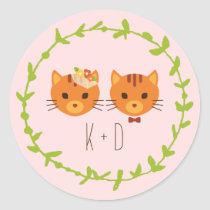 Whimsical Forest Cats Blush Wedding Classic Round Sticker