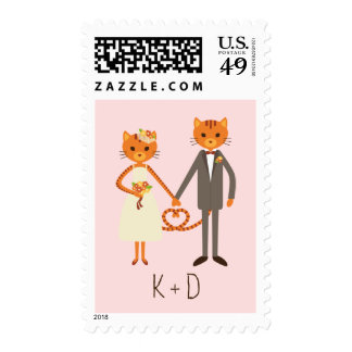 Whimsical Forest Cats (Blush) Wedding Postage
