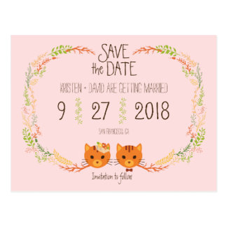 Whimsical Forest Cats Blush Wedding Save the Date Postcard