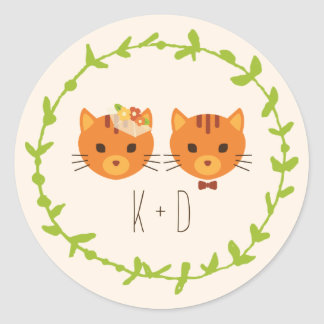 Whimsical Forest Cats (Cream) Wedding Classic Round Sticker