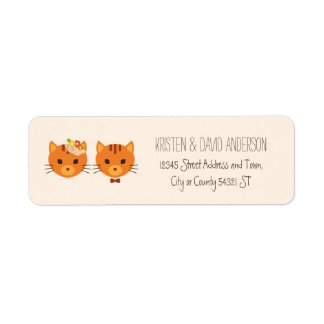 Whimsical Forest Cats (Cream) Wedding Label