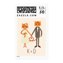 Whimsical Forest Cats (Cream) Wedding Postage