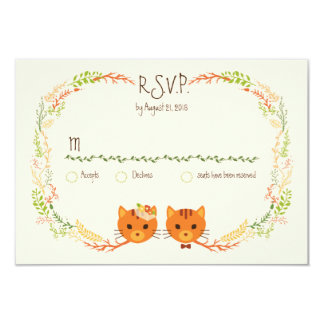 Whimsical Forest Cats Cream Wedding RSVP Card