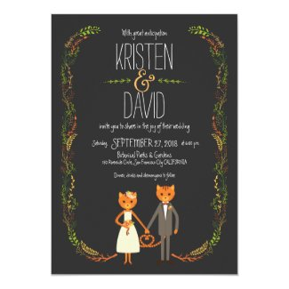 Whimsical Forest Cats Wedding Card