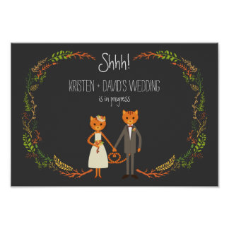 Whimsical Forest Cats Wedding in Progress Posters