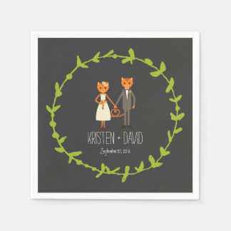 Whimsical Forest Cats Wedding Napkin