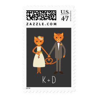 Whimsical Forest Cats Wedding Postage