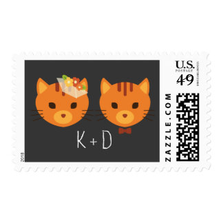 Whimsical Forest Cats Wedding Postage Stamp