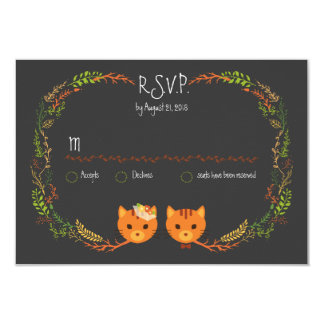 Whimsical Forest Cats Wedding RSVP 3.5x5 Paper Invitation Card