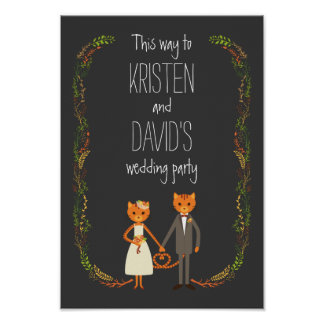 Whimsical Forest Cats Wedding Sign Posters
