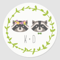 Whimsical Forest Raccoons Rustic Wedding Classic Round Sticker