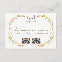 Whimsical Forest Raccoons Rustic Wedding RSVP