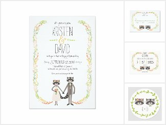Whimsical Forest Raccoons Rustic Wedding Suite