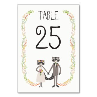 Whimsical Forest Raccoons Rustic Wedding Table