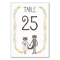 Whimsical Forest Raccoons Rustic Wedding Table Table Number