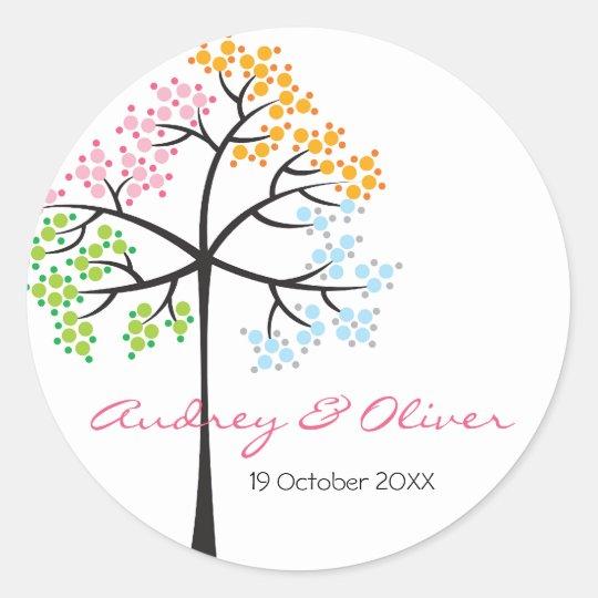 Whimsical Four Seasons Tree Modern Wedding Sticker