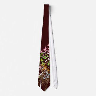 Whimsical Four Seasons Trees on Brown Custom Tie
