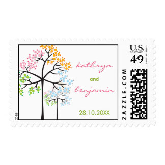 Whimsical Four Seasons Trees Wedding Shower Stamps