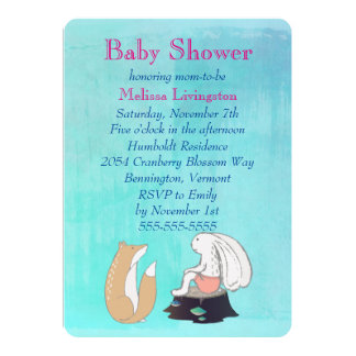Whimsical Fox and Rabbit Turquoise Baby Shower Card