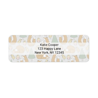 Whimsical Foxes, Birds and Trees Illustrated Label