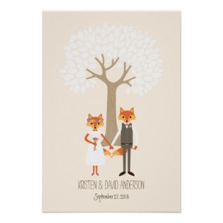 Whimsical Foxes (Ivory) Fingerprint Signature Tree