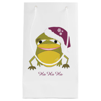 Whimsical Frog in a Santa Hat Small Gift Bag