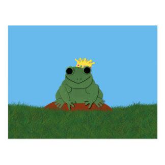 Whimsical Frog Prince with Crown Postcard