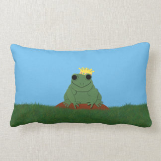 Whimsical Frog Prince with Crown Throw Pillow