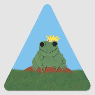 Whimsical Frog Prince with Crown Triangle Sticker