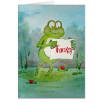 Whimsical Frog with Thanks Thank You Sign Funny