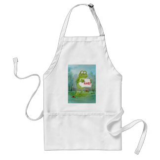 Whimsical Frog with Thanks Thank You Sign Funny Adult Apron