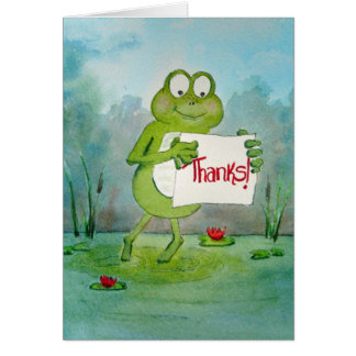 Whimsical Frog with Thanks Thank You Sign Funny Card
